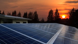 Solar panel with sunrise, rooftop - 111015998
