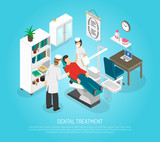 Dental Checkups Procedure Treatment Isometric Poster