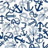 Blue anchors with chains, ropes seamless pattern