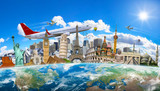 Fototapety Famous landmarks of the world grouped together on planet Earth