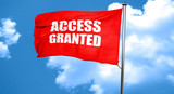 access granted, 3D rendering, a red waving flag