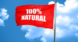 100% natural, 3D rendering, a red waving flag