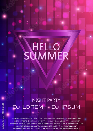 Club Party Flyer. Hello Summer Party Flyer A4. Vector Template Design