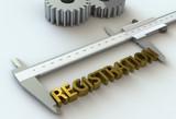 REGISTRATION, message on vernier caliper, 3D rendering