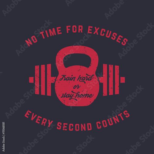 Train hard, vintage gym t-shirt design, print, kettlebell and barbell, red on da Poster