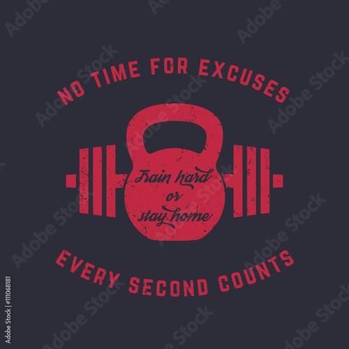 Plakát Train hard, vintage gym t-shirt design, print, kettlebell and barbell, red on da