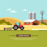 Farming and agriculture background with windmill, tractor and barn. Agribusiness. Vector illustration.