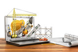 Concept of construction. Building tools in laptop screen. 3d ill
