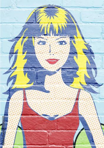 Art urbain, jeune femme Poster