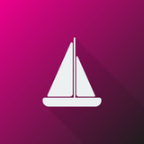 White Sailboat icon on pink background