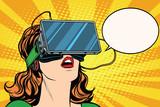 Fototapety Retro girl with glasses virtual reality