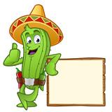 cactus apoyado en un tablón de anuncios