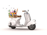 Riding a Vespa for a picnic in the spring