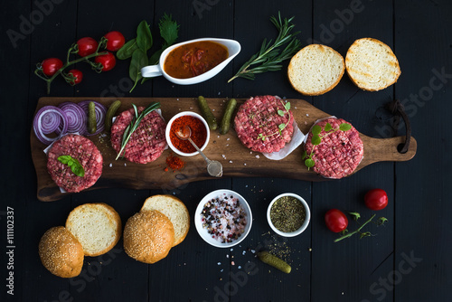 Poster, Tablou Ingredients for cooking burgers