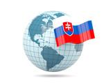 Globe with flag of slovakia