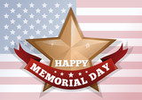 Happy Memorial Day concept. Red ribbon with the inscription on top of American flag. Patriotic banner. Vector illustration