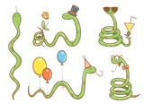 Cartoon cute snakes set. Five funny animals in different poses. Collection of reptiles. Children