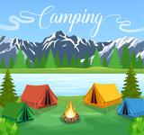 Vector flat illustration camping.