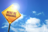 here be dragons, 3D rendering, a yellow road sign