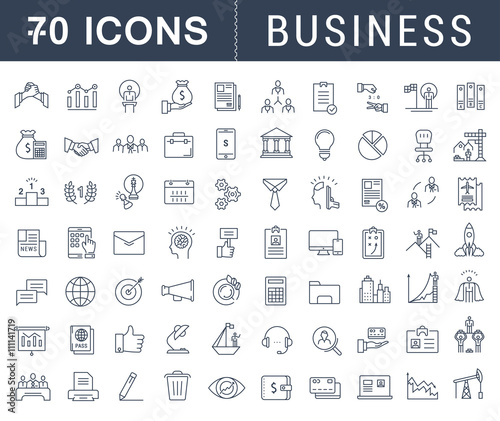 Set Vector Flat Line Icons Business