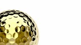Golden golf ball spin on white background