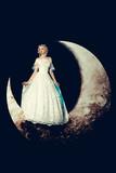 Bride in dress on moon