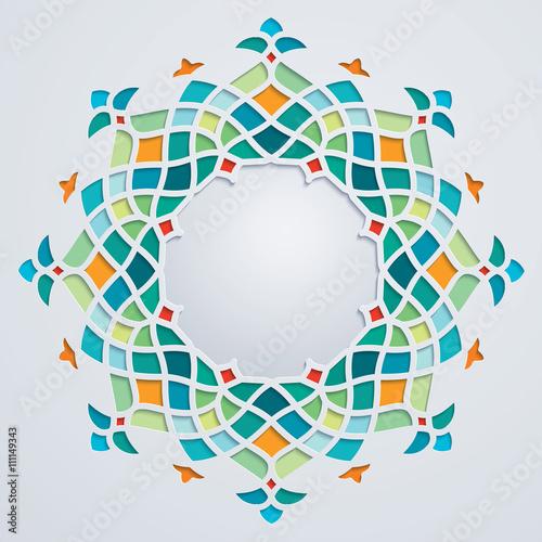 Arabic pattern circle geometric ornament colorful mosaic © oktora