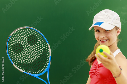 Fotobehang Tennis Tennis - beautiful young girl tennis player