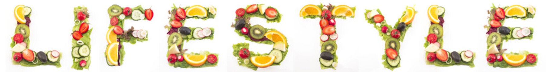 Word lifestyle made of salad and fruits