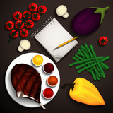 Grilled steak rib-eye and vegetables for a delicious dish and a notebook for recipes. Place for your text. Vector illustration.