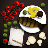 River trout  and vegetables for a delicious dish and a notebook for recipes. Place for your text. Vector illustration.