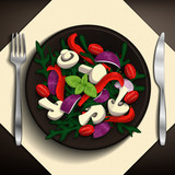 Spring salad with tomatoes, raw mushrooms, olives, red onion, peppers, basil, and arugula on brown plate. Vector illustration.