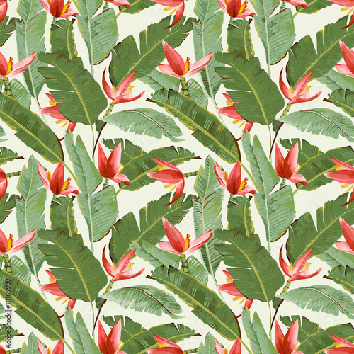 Naklejka na szybę Seamless Pattern. Tropical Palm Leaves and Flowers Background.