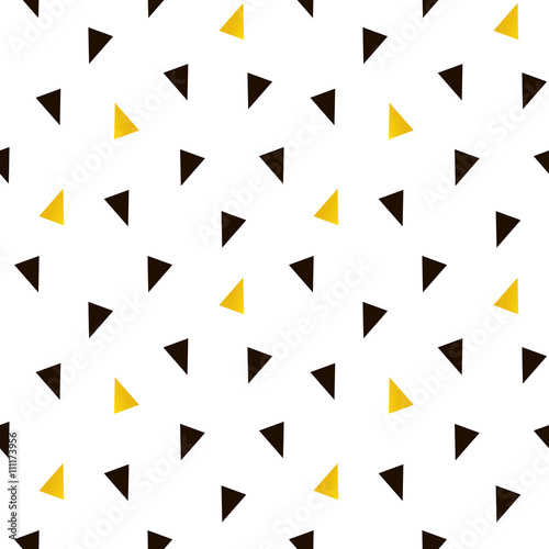 Trendy black and gold triangle seamless pattern background. - 111173956