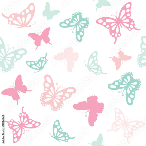 Fototapeta Seamless pattern background with butterflies in pastel colors.