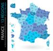 Carte de France / 13 régions et outre-mer avec départements, numéros et chefs-lieux / Un tracé autonome par zone)