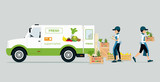 Vehicles carrying vegetables and fruits with employee monitoring product.