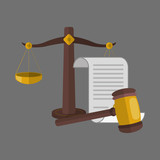 Law design. Justice icon. Grey background, vector illustration