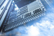Cloud and sky overlay with servers computing technology in datac