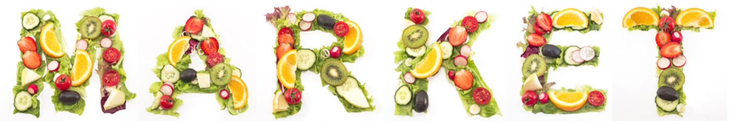 Word market made of salad and fruits