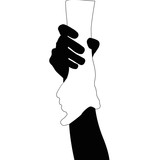 Helping hands , vector black and white on white background