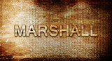marshall, 3D rendering, text on a metal background