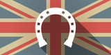 Long shadow UK flag icon with  a horseshoe sign