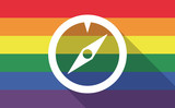 Long shadow gay pride flag with a compass