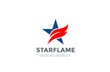 Corporate Blue Star Red flame Logo abstract design vector templa - 111235967