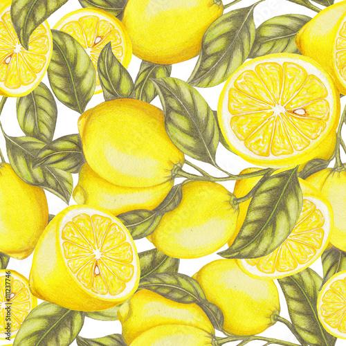 Fototapeta Seamless pattern of hand drawn lemons