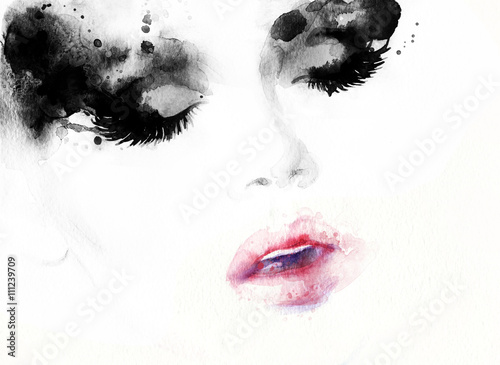 Abstract fashion watercolor illustration. Beautiful woman face.  © Anna Ismagilova