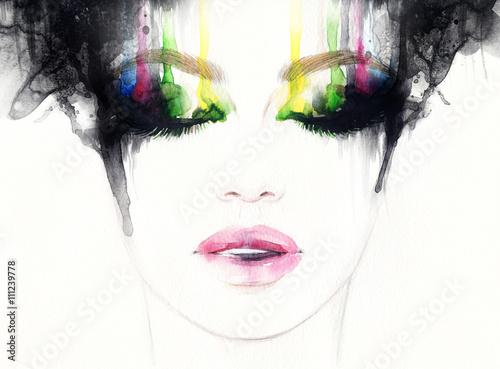 Abstract fashion watercolor illustration. Beautiful woman face.  - 111239778