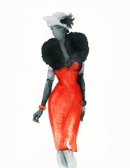 woman with elegant dress. watercolor abstract illustration © Anna Ismagilova
