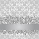 Silver lace border on floral silver pattern wallpaper